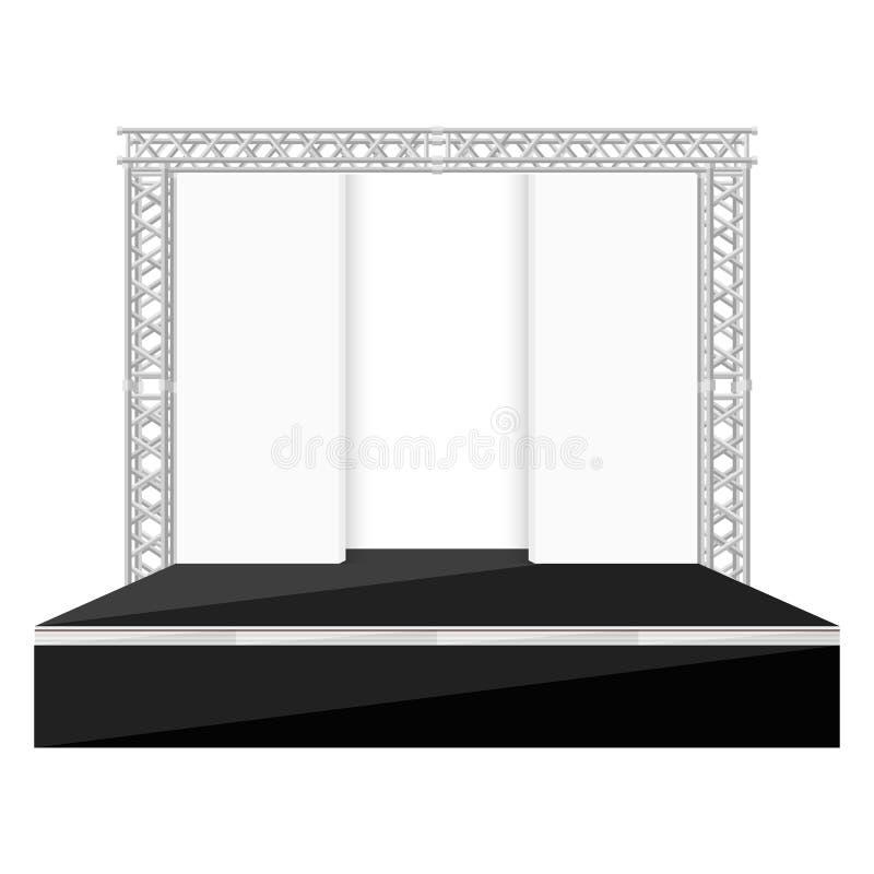 La fase piana di stile di colore nero con le scene appoggia il illust della capriata del metallo royalty illustrazione gratis