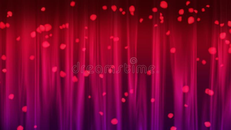 La fase romantica con la tenda luminosa e cadere sono aumentato petali, 3d rendono, contesto generato da computer illustrazione di stock