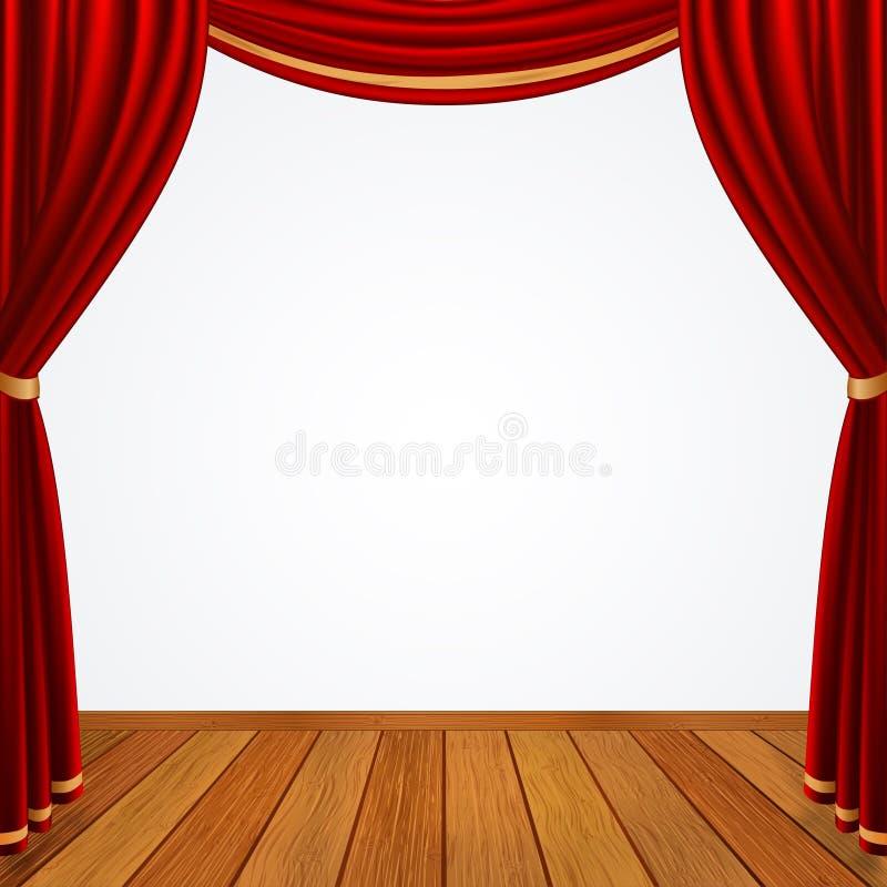 La fase vuota con le tende rosse copre e pavimento di legno marrone immagine stock
