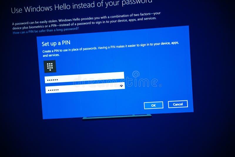 La favorable instalación de Microsoft Windows 10 puso un número pin foto de archivo libre de regalías