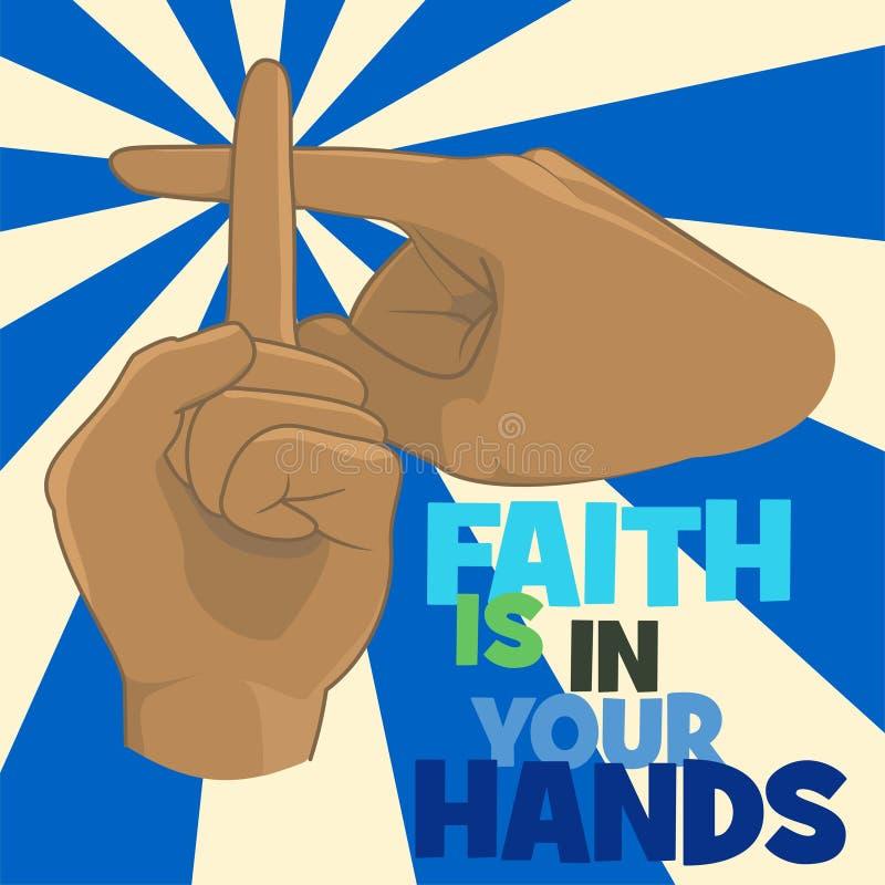 La fe está en su concepto de diseño del cristianismo de las manos stock de ilustración