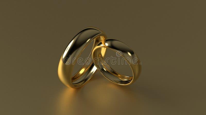 La fede nuziale dorata di bellezza sul fondo dell'oro rappresentazione 3d immagine stock