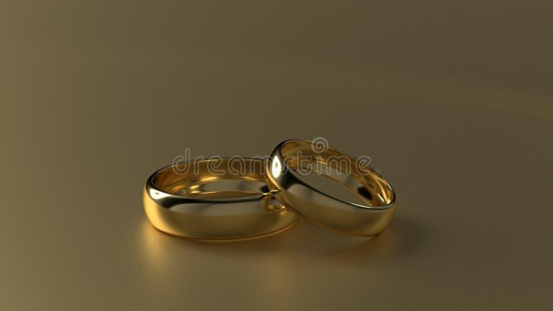 La fede nuziale dorata di bellezza sul fondo dell'oro rappresentazione 3d fotografie stock libere da diritti
