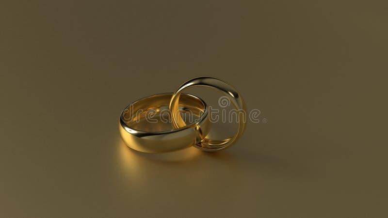 La fede nuziale dorata di bellezza sul fondo dell'oro rappresentazione 3d immagini stock libere da diritti