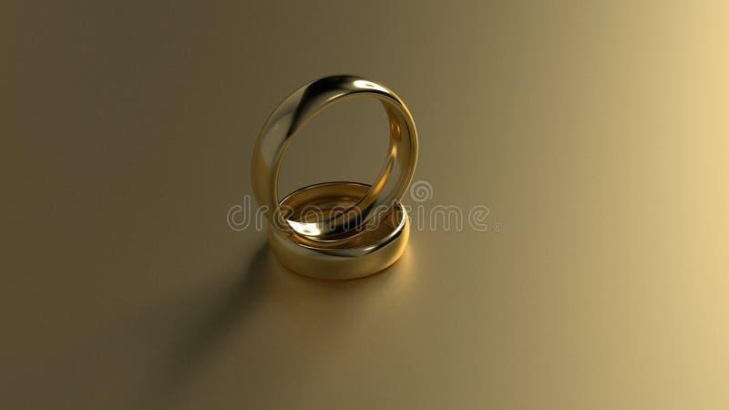 La fede nuziale dorata di bellezza sul fondo dell'oro rappresentazione 3d fotografia stock