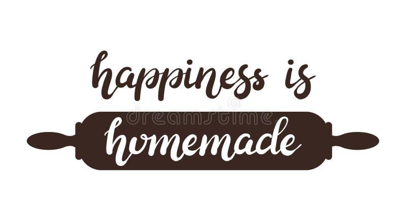 La felicidad dibujada mano es cartel hecho en casa de las letras de la tipografía con el rodillo en fondo imagen de archivo