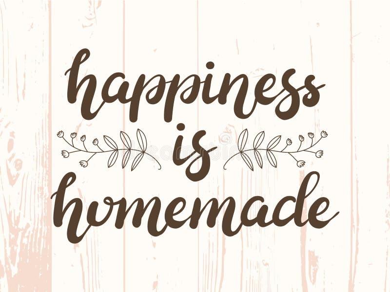 La felicidad dibujada mano es cartel hecho en casa de las letras de la tipografía en fondo texturizado de madera libre illustration