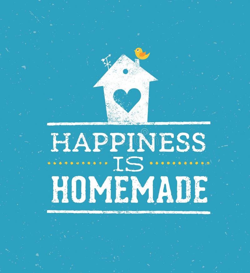 La felicidad es cita hecha en casa Concepto caprichoso del cartel de la tipografía del vector de la casa ilustración del vector
