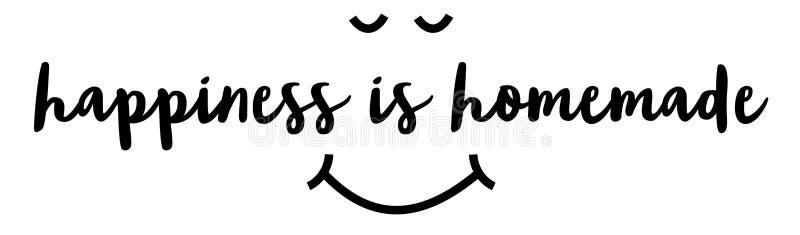 La felicidad es hecha en casa ilustración del vector