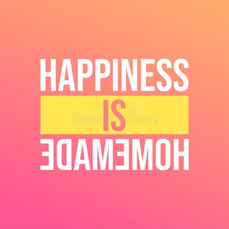 La felicidad es hecha en casa Cita de la vida con vector moderno del fondo stock de ilustración