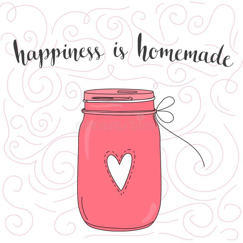 La felicidad es hecha en casa Cita inspirada ilustración del vector