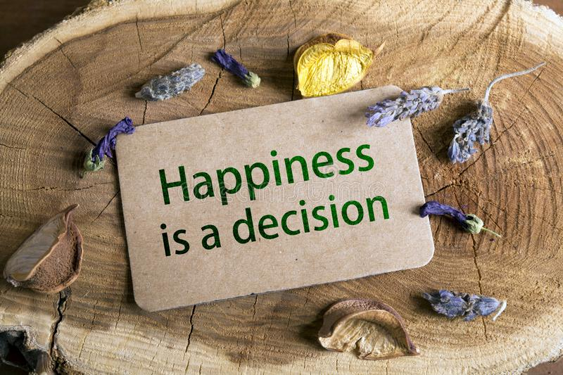 La felicidad es una decisión fotografía de archivo