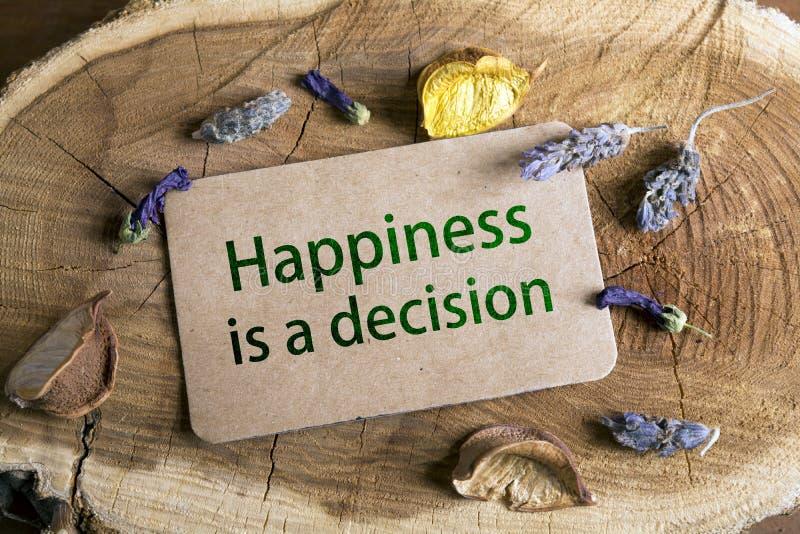 La felicità è una decisione fotografia stock