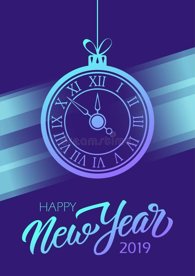 La Feliz Año Nuevo 2019 celebra el cartel con el reloj el poner letras exhausto de la mano y del Año Nuevo para los saludos y las stock de ilustración
