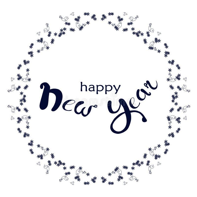 La Feliz Año Nuevo de las letras azul marino en copo de nieve y los pájaros enrruellan en blanco stock de ilustración