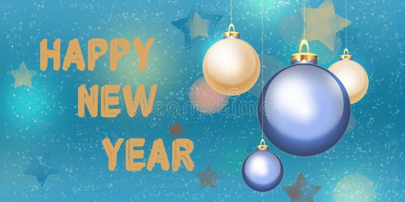 La Feliz Año Nuevo y casa vagos colgantes de la tarjeta de felicitación de la Navidad 2017 foto de archivo libre de regalías