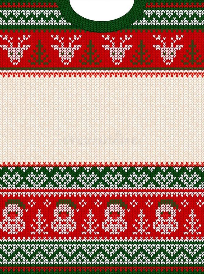 La feliz fiesta de Navidad del suéter feo invita a la plantilla Modelo escandinavo del ornamento libre illustration