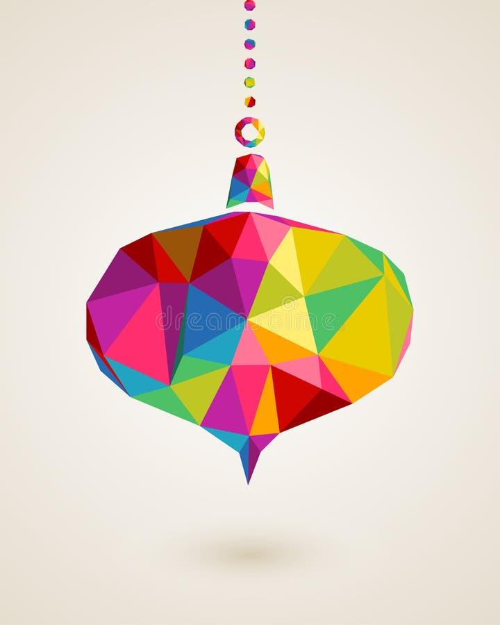 La Feliz Navidad colorea la chuchería de la ejecución del triángulo ilustración del vector