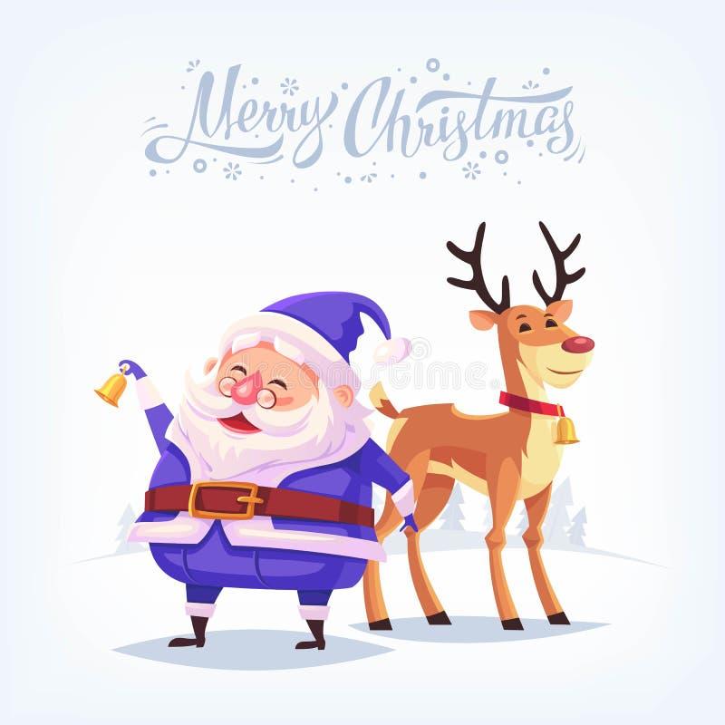La Feliz Navidad de la campana de sonido de Santa Claus del traje azul lindo de la historieta y del reno divertido vector la tarj stock de ilustración