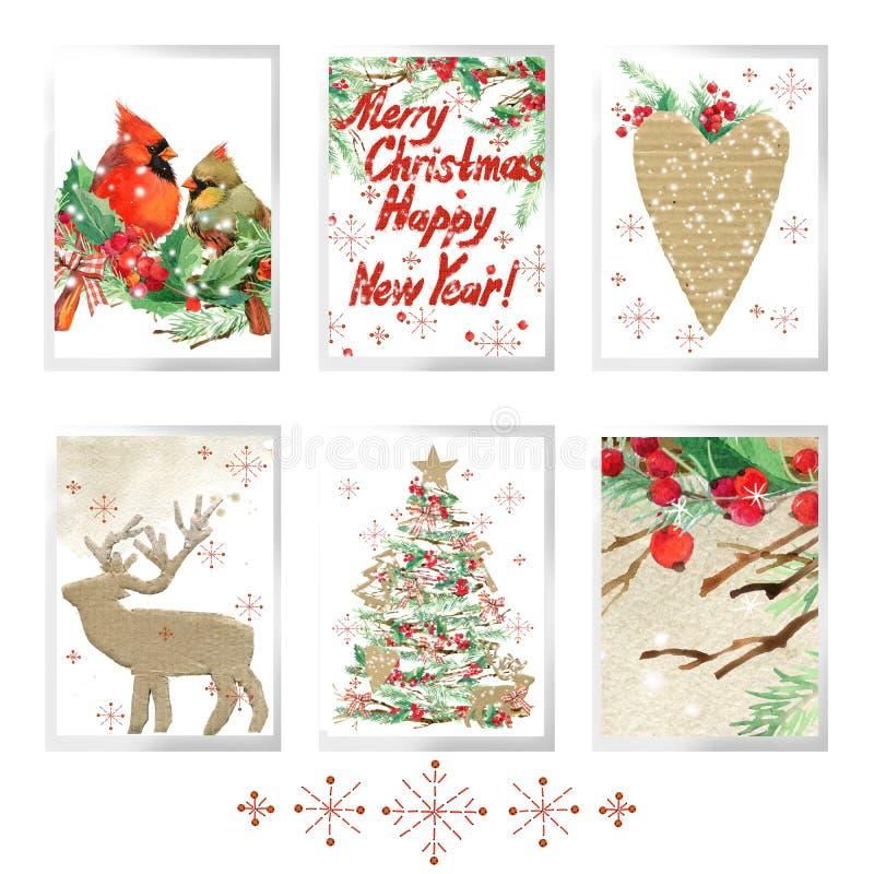 La Feliz Navidad de la acuarela fijó para las tarjetas de felicitación del día de fiesta stock de ilustración