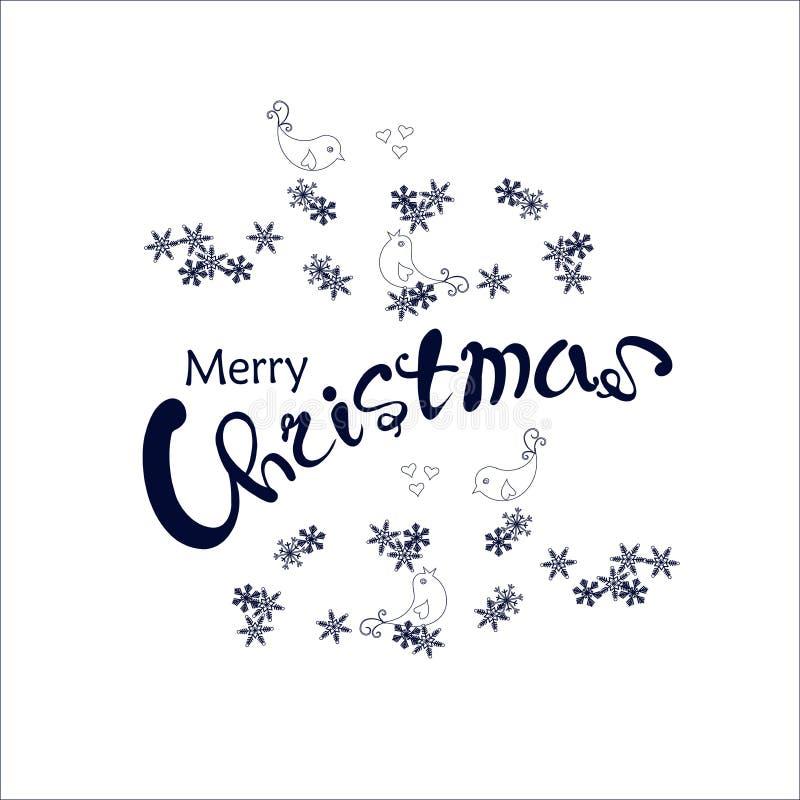 La Feliz Navidad de las letras azul marino en copo de nieve y los pájaros enrruellan en blanco stock de ilustración