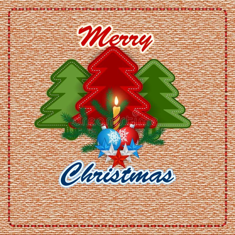 La Feliz Navidad, el fondo del diseño con el árbol de navidad de costura de la tela y la vela se encienden stock de ilustración