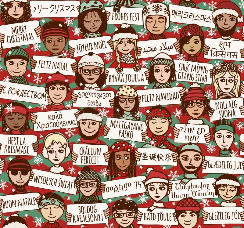 La Feliz Navidad firma adentro otros idiomas - coloree la versión libre illustration