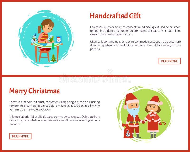 La Feliz Navidad Handcrafted el personaje de dibujos animados del regalo stock de ilustración