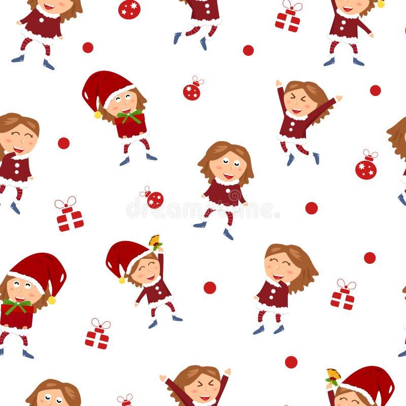 La Feliz Navidad, vacaciones de invierno, carácter lindo de la muchacha celebra h libre illustration