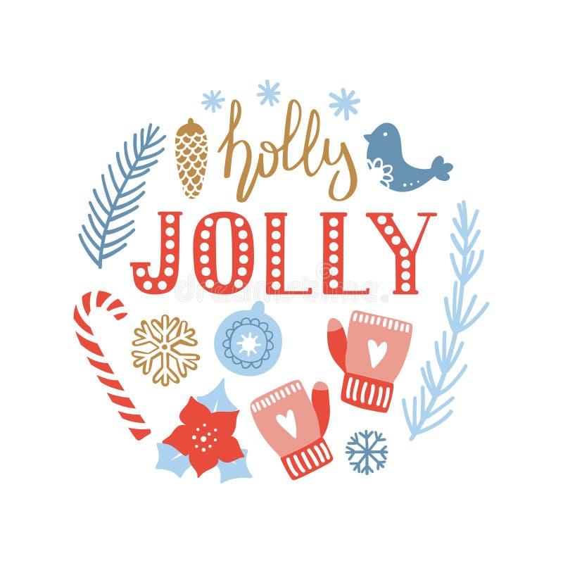 La Feliz Navidad y la Feliz Año Nuevo dan la tarjeta de felicitación exhausta libre illustration