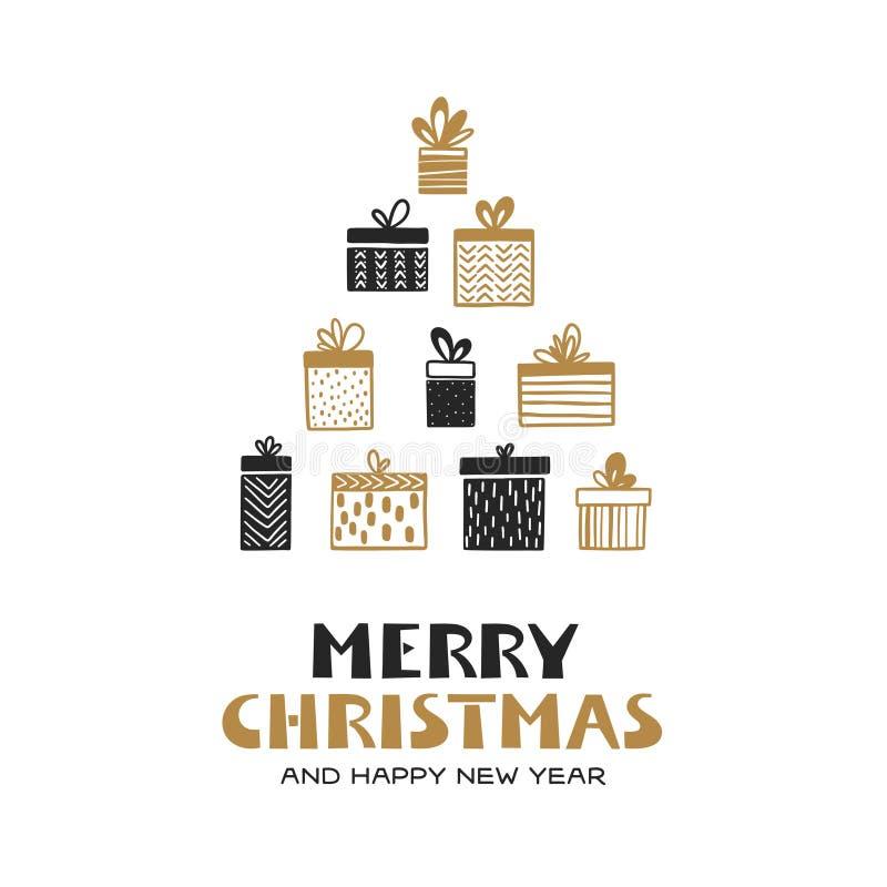 La Feliz Navidad y la Feliz Año Nuevo dan la tarjeta exhausta Ejemplo del vintage del vector stock de ilustración