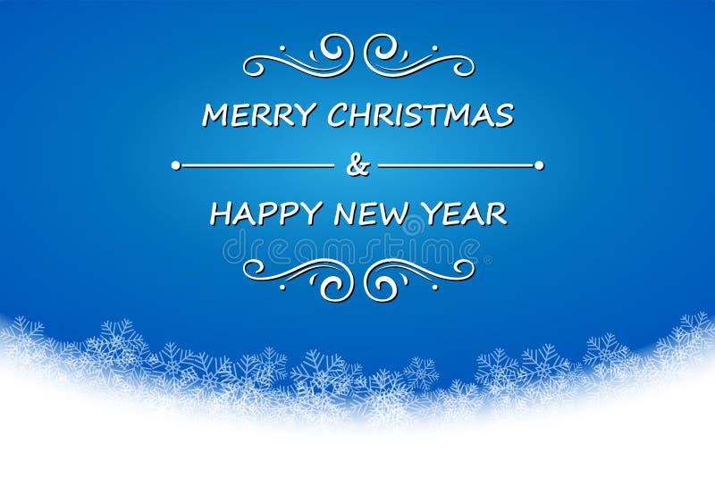La Feliz Navidad y la Feliz Año Nuevo mandan un SMS en fondo azul con ilustración del vector