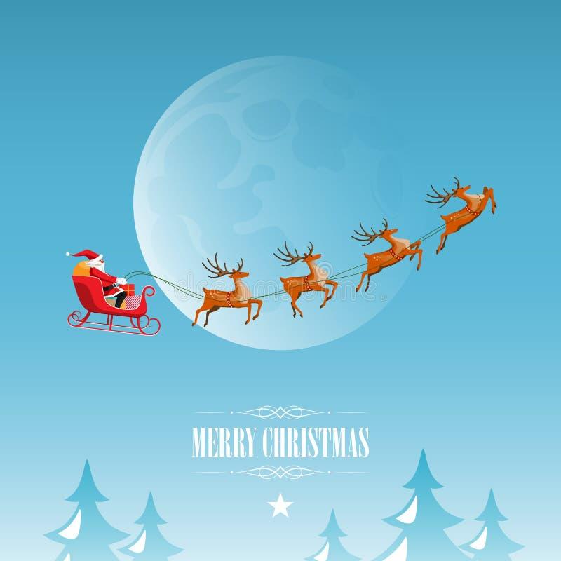 La Feliz Navidad y la Feliz Año Nuevo, Santa Claus conduce el trineo con el reno en el cielo de la Luna Llena, estilo plano de la libre illustration