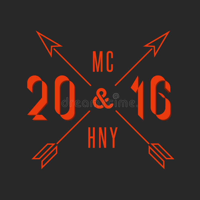La Feliz Navidad y la Feliz Año Nuevo 2016 del inconformista mandan un SMS al monograma, línea números del día de fiesta de las f libre illustration