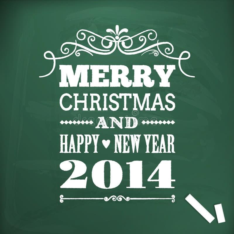 La Feliz Navidad y la Feliz Año Nuevo 2014 escriben en chlakboard stock de ilustración