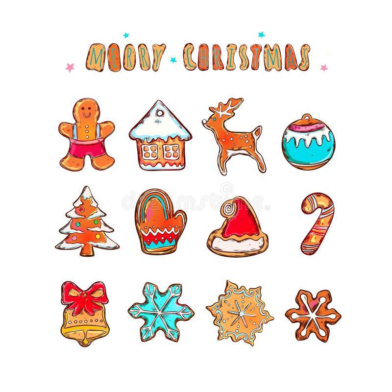 La Feliz Navidad y la Feliz Año Nuevo vector la bandera Concepto de las galletas del pan de jengibre Diversos elementos del invie ilustración del vector