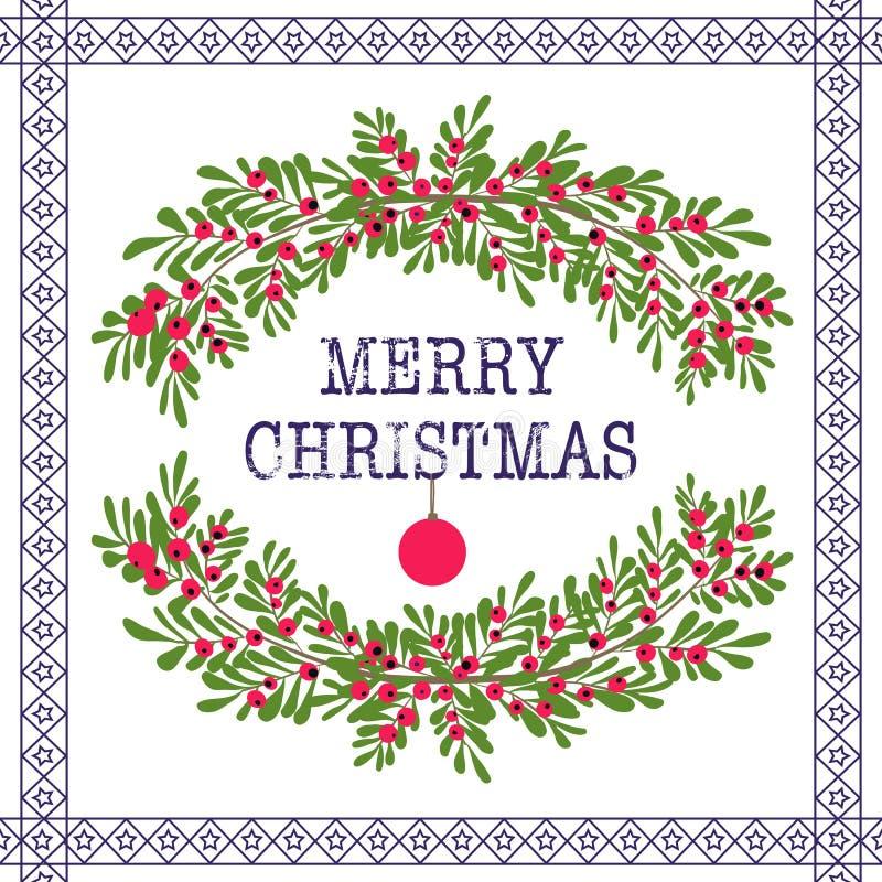 La Feliz Navidad y la tarjeta de felicitación de la Feliz Año Nuevo enrruellan a VE blanca stock de ilustración