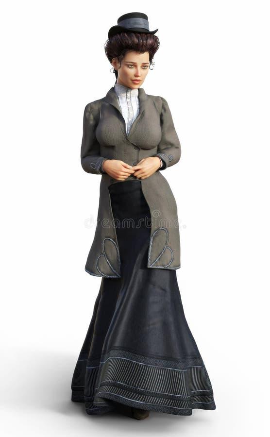 La femelle élégante s'est habillée dans le vêtement victorien intemporel traditionnel sur un fond blanc d'isolement illustration de vecteur