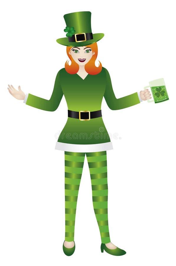 la femelle dans le lutin vert costume l 39 illustration illustration de vecteur illustration du. Black Bedroom Furniture Sets. Home Design Ideas