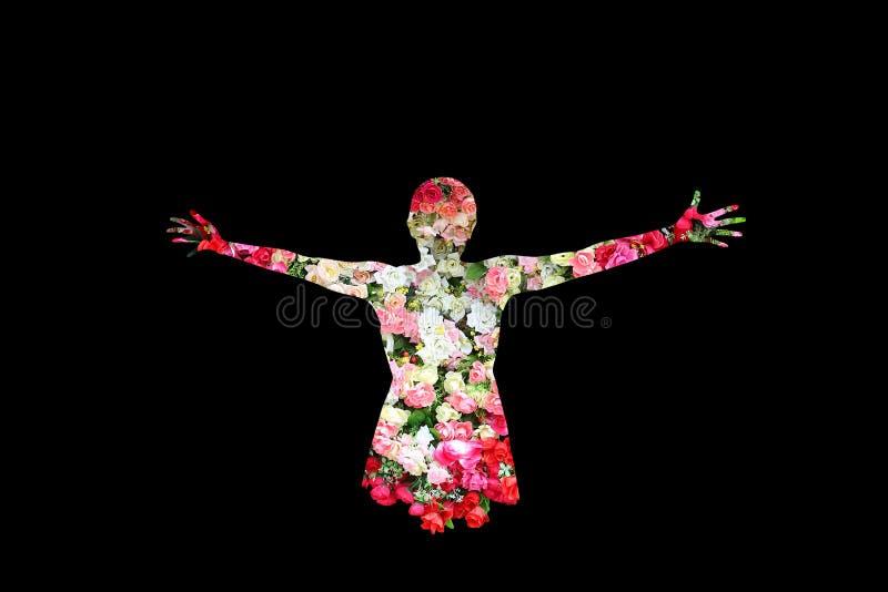 La femelle et les roses fleurissent dans la double exposition sur le fond noir image stock