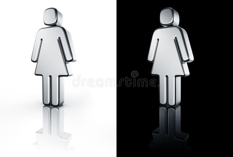 La femelle se connectent l'étage blanc et noir illustration stock