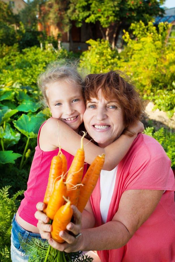 La femme élève la récolte dans le jardin photographie stock libre de droits