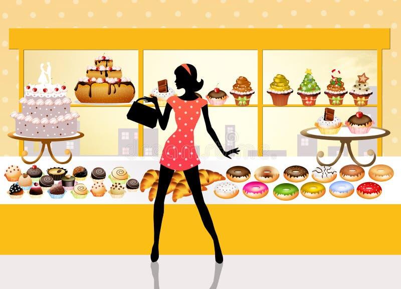 La femme achète des pâtisseries illustration stock