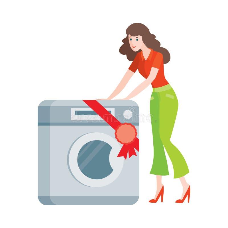 La femme achète la machine à laver dans le style plat d'isolement illustration stock