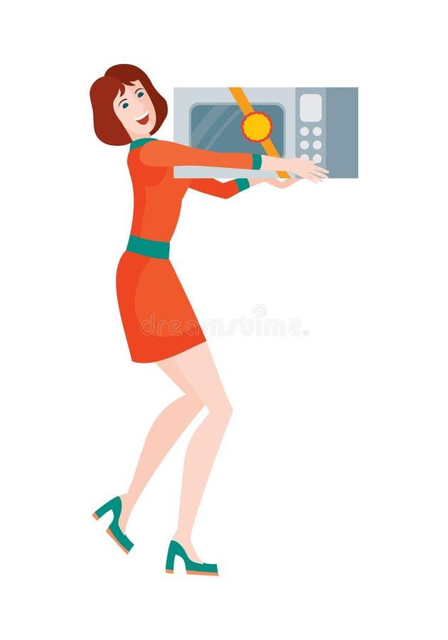La femme achète le four à micro-ondes Vente sur le prix discount illustration stock