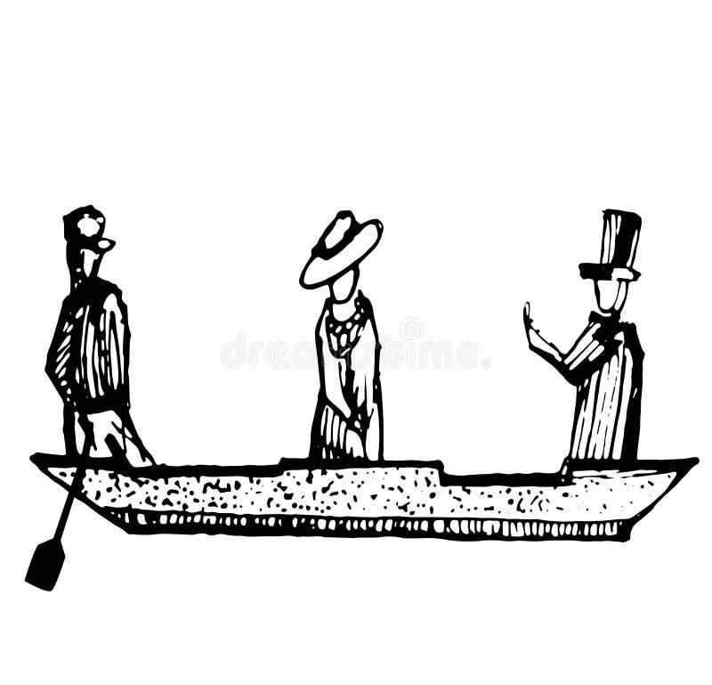 La femme affectueuse de couples et un homme dans un bateau Venise esquissent les amants heureux de jour de valentines de vintage illustration de vecteur