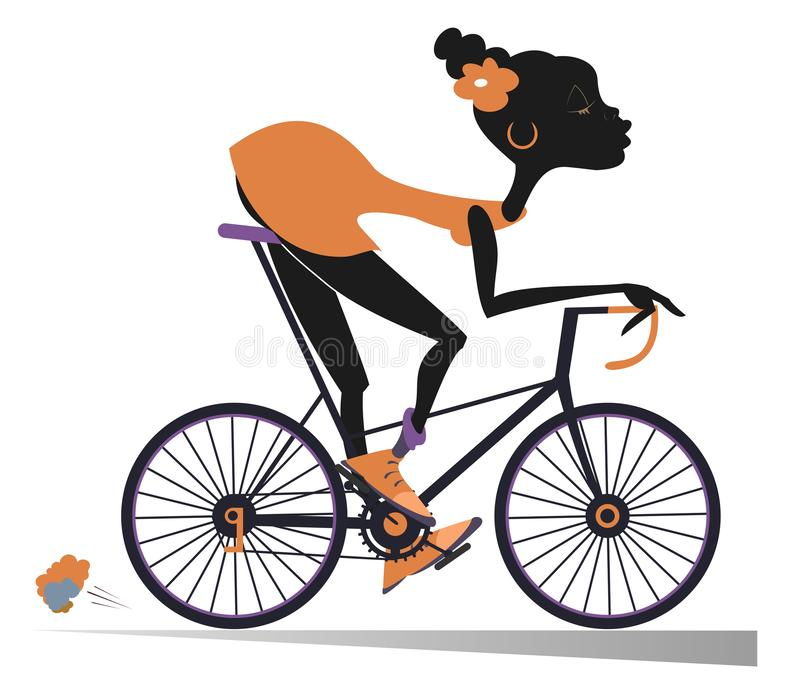 La femme africaine monte une illustration d'isolement par vélo illustration libre de droits