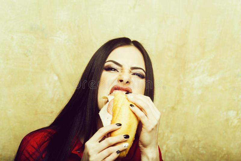 La femme agressive de jolie brune sexy mange le grand sandwich ou hamburger photo stock