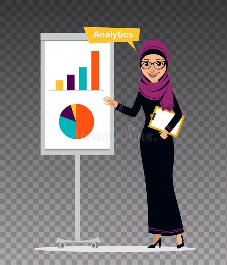 La femme arabe avec le presse-papiers tient presque le flipchart La femme est engagée dans l'analytics Illustration sur le fond t illustration de vecteur