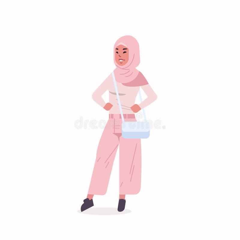 La femme arabe dans la position traditionnelle de port de v?tements de foulard de fille arabe de hijab posent le personnage de de illustration de vecteur